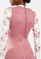 Lizzy - Mariposa floral upf 50+ long sleeve swimsuit - pink