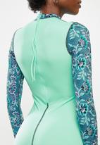 Lizzy - Manoli floral upf 50+ long sleeve swimsuit - green
