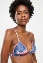 Lizzy - Celie fixed triangle bikini top with removable pads - navy & pink