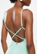 Lizzy - Caraway textured criss cross full costume - aqua
