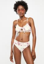 Lizzy - Bondi high waisted bikini bottoms - pink & white