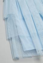 POP CANDY - Tiered mesh combo dress - white & blue