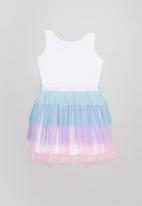 POP CANDY - Tiered mesh combo dress - multi