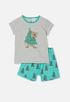 Cotton On - Hudson short sleeve pyjama set - grey