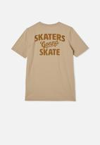 Free by Cotton On - Free boys skater short sleeve tee - semolina