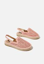 Cotton On - Woven mule espadrille - zephyr pink