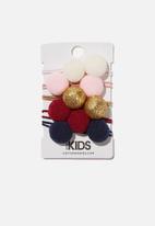 Cotton On - Knot messy hair ties round - berry nights pom pom