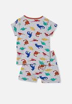 Cotton On - Hudson short sleeve pyjama set - multi dino summer grey marle