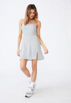 Factorie - Fit and flare split dress - blue & white