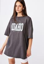 Factorie - Graphic T-shirt dress - washed black