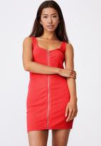 Factorie - Zipper front dress - red apple
