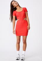 Factorie - Rib cut out short sleeve dress - red