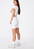 Factorie - Rib cut out short sleeve dress - light grey