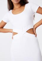 rib cut out short sleeve dress  white factorie casual