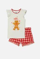 Cotton On - Stacey short sleeve flutter pyjama set - gingerbread man vanilla