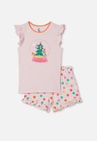 Cotton On - Stacey short sleeve flutter pyjama set - pink