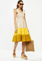Me&B - Colour block sun dress with frill sleeves - multi