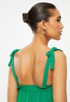 Blake - Rayon crinkle dot tiered mini dress - green