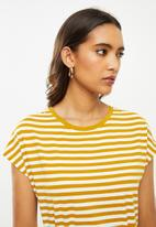 ONLY - Happy life short sleeve dress - mustard & white