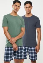 Superbalist - 2 Pack scoop neck short sleeve sleep tee - blue & green