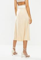 VELVET - Midi satin slip skirt with slit - neutral