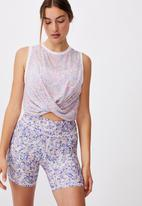 Cotton On - Run with it twist tank - sketched dense ditsy rose water