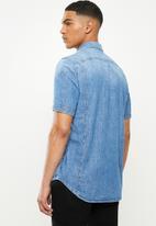 G-Star RAW - 3301 slim short sleeve shirt - Faded Orion blue