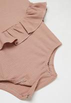 Baby Star - Sleeveless peplum romper - dusty pink