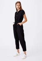 Cotton On - Woven jasmine utility jumpsuit  - black