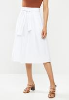 edit - Cotton belted fit & flare skirt - white