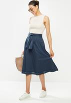 edit - Cotton belted fit & flare skirt - navy