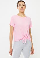 Cotton On - Tie up rib T-shirt - pink