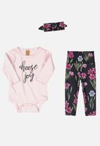 UP Baby - Bodysuit, pants & flannel hairband set - light pink