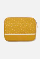 Typo - Canvas 13 inch laptop case - dottie floral mustard