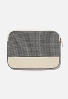 Typo - Canvas 13 inch laptop case - black grid check 2.0