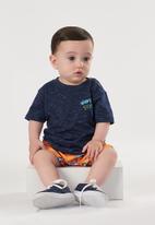 UP Baby - Boys tee & microfibre shorts set - navy