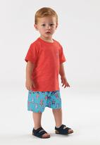UP Baby - Boys tee & microfibre shorts set - red & blue