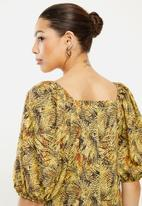 edit - Square neck ruched sleeve blouse - multi