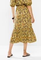 edit - Slit front tiered midi skirt - multi