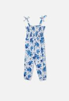 Cotton On - Imogen shirred jumpsuit - white & blue