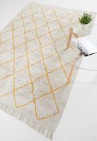 Sixth Floor - Diamond tufted rug - yellow & cream