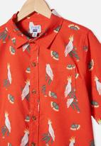Free by Cotton On - Boys resort short sleeve shirt - red orange