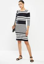 POLO - Marie stripe dress - black & white