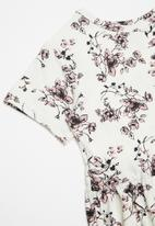 POP CANDY - Printed floral short sleeve dress - white & pink