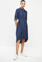 POLO - Long sleeve reiss chambray dress -blue
