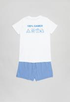 Rebel Republic - Boys printed tee & shorts pj set - white & blue
