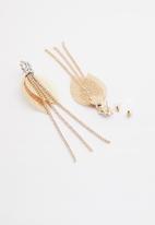 Superbalist - Leaf diamante earrings - gold & silver