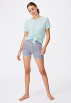Cotton On - Tie up rib tshirt - aqua splash