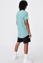 Factorie - Method curved graphic T-shirt - washed teal