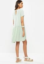 VELVET - Crinkle mini tiered dress puff sleeves - sage